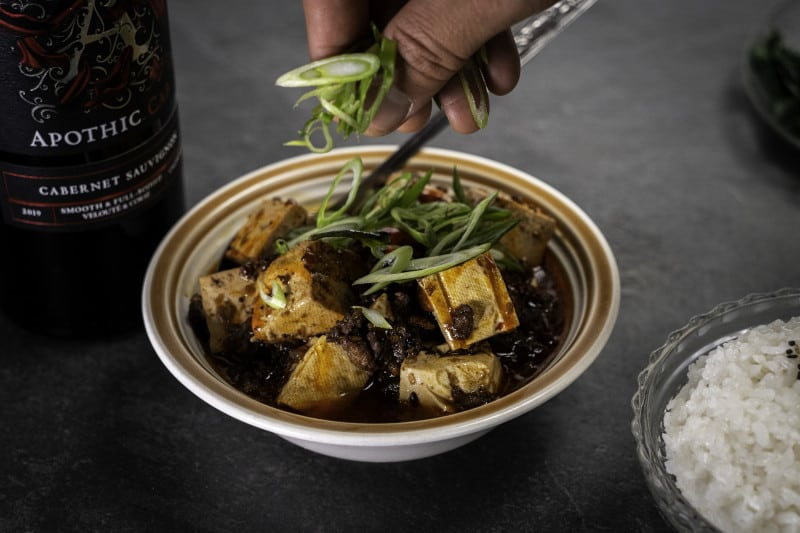 Mapo tofu serving